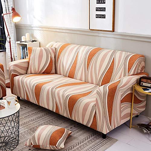 Funda de sofá Antideslizante de Poliéster Spandex Líneas Naranjas Estampado,Funda elástica Antideslizante Protector Cubierta de Muebles para sofá de 1 plazas(1 Funda de Cojines)