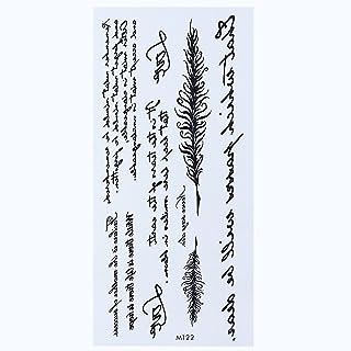 CQHUI 1 vel Tijdelijk Engels woord tattoo stickers zwarte letters veren body art tattoos sticker waterdicht voor tijdelijk...