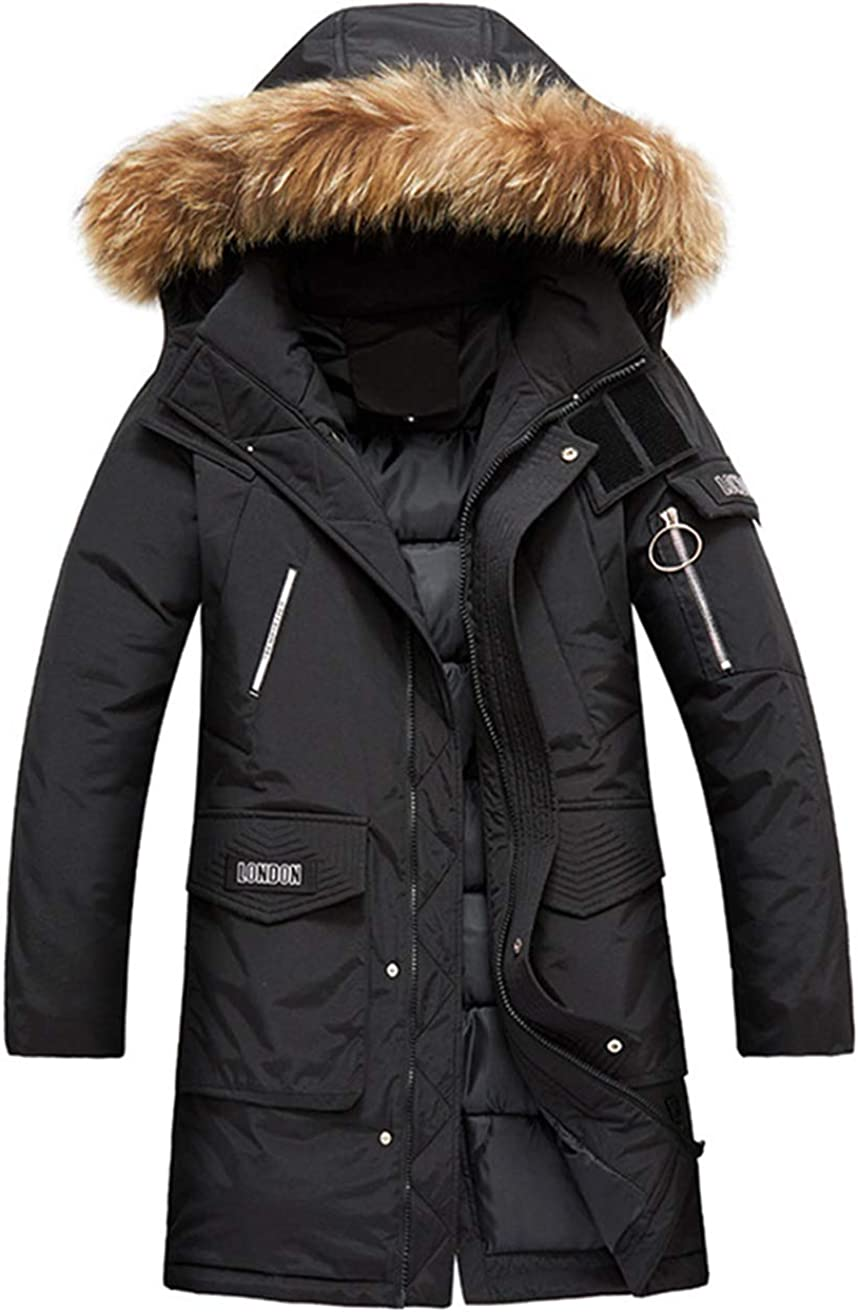 chouyatou Men's Cotton Padded Mid Long Winter Parka Coat Removable Faux Fur Hood