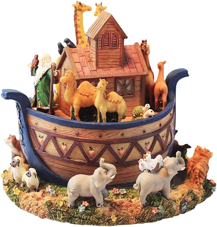 muchas concesiones LittleBeauty Caja De Musica De Madera Madera Madera Animal Noah's Ark Resina Caja de música rojoativa, Chanong Música de Resina Caja de música Decoración Cumpleaños Regalo de San Valentín  El ultimo 2018