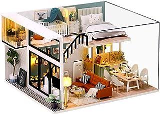 moin moin ドールハウス ミニチュア 手作りキット セット DIY | 二階建てモデルルーム風 | シック 高級感 カフェ風 | 中型 1/24 | LEDライト + アクリルケース Fidelio (フィデリオ)