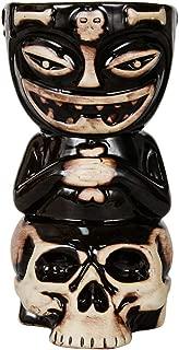 AAA&LIU Skull Doll Tiki Mug Cocktail Cup Beer Wine Mug Ceramic Tiki Mugs Art Crafts Creative Hawaii Mugs,Black
