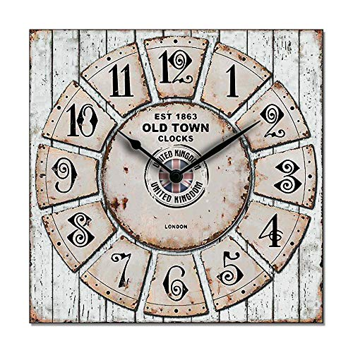 Lupia Clockart - Reloj de pared decorativo cuadrado 30 x 30 cm Old Town