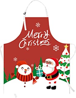 Demason Christmas Apron 60 /× 80cm Kitchen Cartoon Christmas Garland Pattern Xmas Apron for Festival Cooking Baking BBQ Party Restaurant Home Decoration