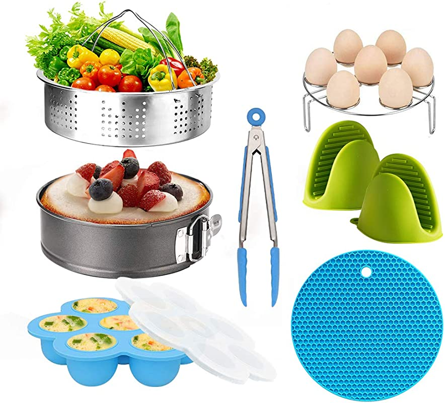 Pressure Cooker Accessories Set Steamer Basket Egg Bites Mold Egg Rack Silicone Mini Oven Mitts Food Tong Insulation Pads Springform Pan Fits For 6 8 Qt IP Pot Models 8pcs