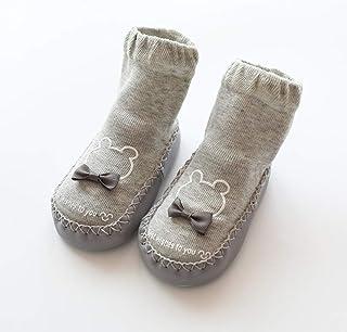 TZOU Newborn Babies Cartoon Imitation Shoes with Leather Bottom Stereo Baby Socks 0-3 Years Old Gray 11cm