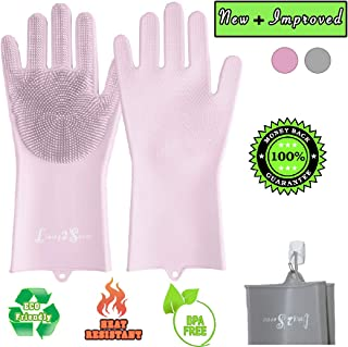Dish Wash Gloves - Magic Silicone Dishwashing Gloves with Extended Scrubbers | Living2Serve Multipurpose Reusable Dish Wash Glove with Brush Bristles are Great for Kitchen, Bathroom, Pet care and more