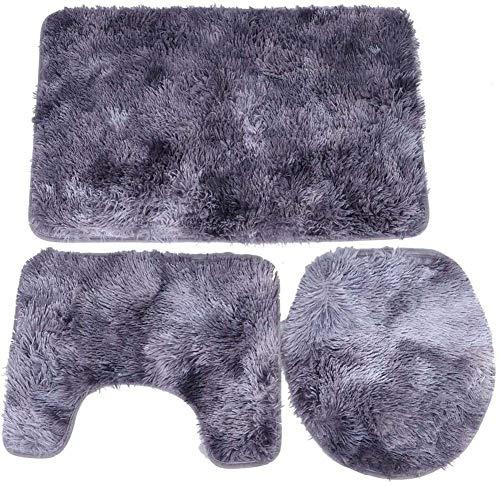 ETOPARS Juego de 3 alfombrillas de baño suaves, absorbentes, antideslizantes, con forma de U y tapa de inodoro, lavable, gris