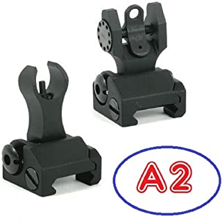 Iron Sights ( HK-A2 ) Tactical Rapid Transition Front & Rear Flip Up Backup Iron Battle Sights Set by Green Blob Outdoors