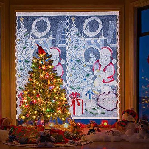 XuBa 1 Stks Chirstmas Venster Gordijnen Spraying Decoratie met Lamp Kerstman Gordijn LED Kleurrijke kerstboom decoratieve doek licht gordijn