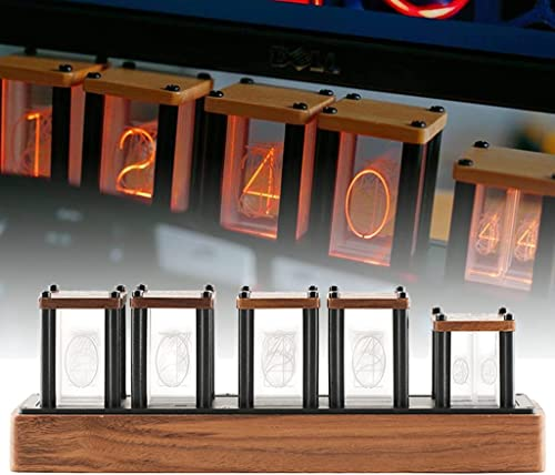lowest LED discount Nixie Tube Clock, Glow Digital Clock, online RGB Color Changing, 5V USB Portable Clock, Minimalism Scandinavian Home Decor, Industrial Punk Lighting Style (Walnut Wood) online