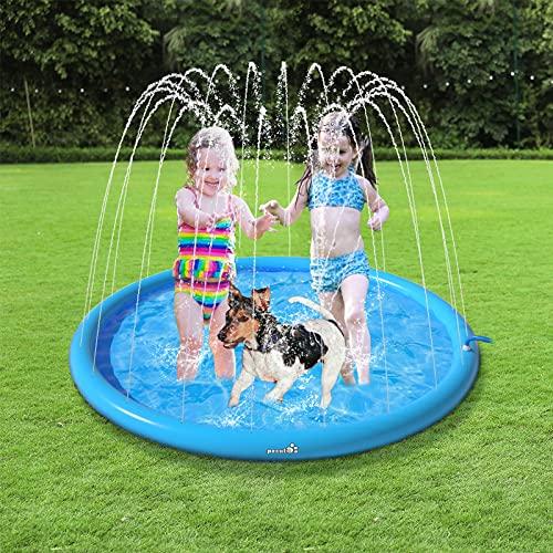 Pecute Sprinkler Wasser-Spielmatte Splash(100 * 100 * 10cm), Sprinkler für Hunde Spritz wasserspiel Matte, BPA-freies PVC-Spritz pad, Splash Pad mit rutschfeste einstellbare Wasserhöhe Blau,S