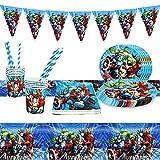 Yisscen Juego de Vajilla de Avengers para Fiesta de Cumpleaños Infantil Superheroes decoración de mesa Vajilla Navidad incluir Bandeja Vasos Mantel Servilletas para Cumpleaños Niña Niño