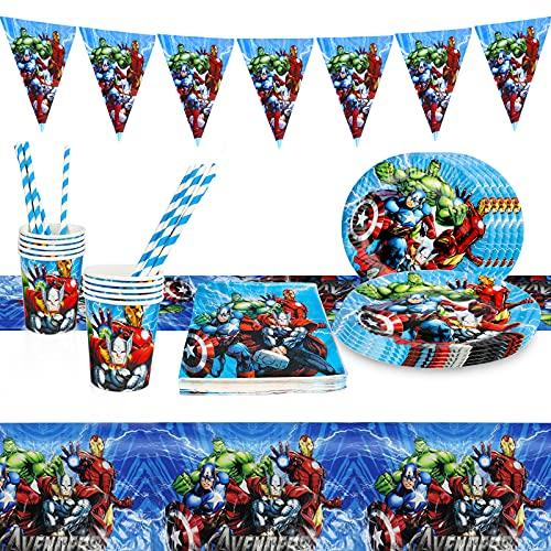 Yisscen Stoviglie per Feste di Compleanno, Supereroi Avengers Stoviglie de Compleanno Decorazioni per Bambini, Forniture per Carnevale Party Set con Piatti, Tovaglia, Bicchieri e tovaglioli