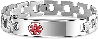 Bling Jewelry Personalizzare l'identificazione Medica Medici Medical Alert ID Cross U Link Braccialetto per Uomo Acciaio 8...