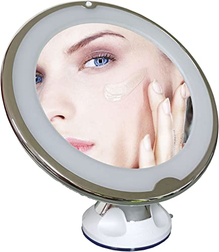 lowest 10X popular Magnifying Mirror with Light, Compact Magnifying Makeup Mirror with Suction Cup, 360 Degree Rotation Lighted Makeup Mirror discount Portable Bathroom Bedroom Makeup Mirror for Home Travel online sale