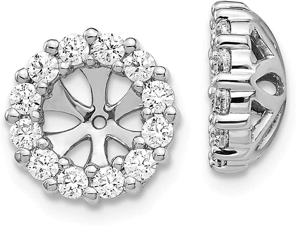 Solid 14K White Gold Diamond Earring Jackets 10mm (.72 cttw.)