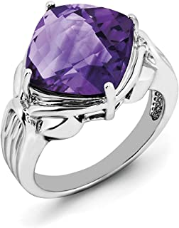 Sterling Silver Amethyst Ring - Ring Size Options Range: J to T