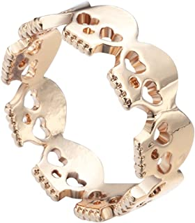 MLJB Gold Plated 14k & Sterling Silver Plated Hollow Heart Eyes Skeleton Skull Charm Band Ring