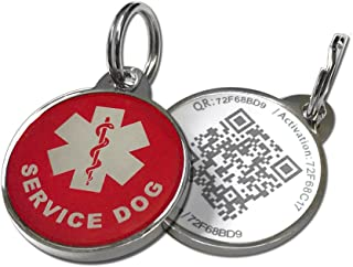 Pet Dwelling Advanced Service Dog ID QR Code Tag Links to Online Profile w/Photo ID/Medical INFO/Scanned GPS Location Finder Stamp(Epoxy Coating)