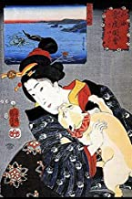 A cat climbs up a well dressed Japanese woman on a kimono A print in the background shows a giant octopus in a battle with a fisherman Poster Print by Kuniyoshi Utagawa (18 x 24)