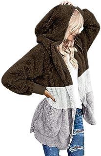 MOVERV Chaquetas Casual de Mujer de Manga Larga con Capucha,Sudadera con Capucha Mujer Moda Patchwork Sudaderas Invierno S...