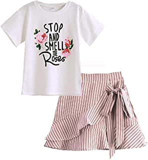 ZL4CH Girls Fall Clothes Outfit Long Sleeve Cotton Shirt Leggings Set 2-8 Years