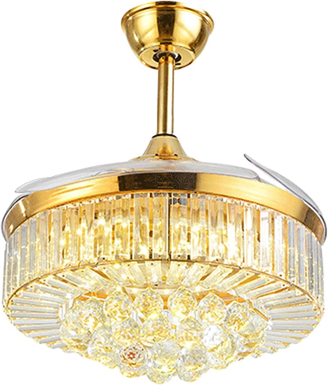 Shipping included CHOUREN Household Ceiling Fan with Dimmable Light Modern Crystal Ranking integrated 1st place