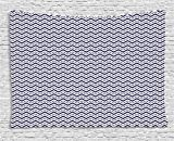 ABAKUHAUS Azul Marino Tapiz de Pared, Chevron Las Líneas Discontinuas, para el Dormitorio Apto Lavadora y Secadora Estampado Digital, 150 x 100 cm, Azul Marino Blanco