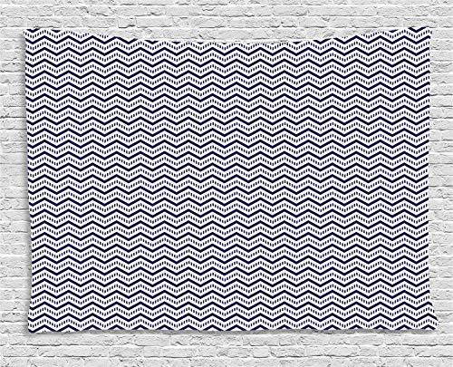ABAKUHAUS Azul Marino Tapiz de Pared, Chevron Las Líneas Discontinuas, para el Dormitorio Apto Lavadora y Secadora Estampado Digital, 200 x 150 cm, Azul Marino Blanco