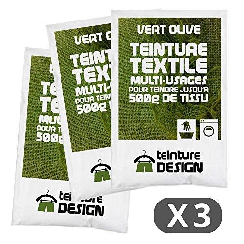 Set de 3bolsas de tinte textil–Verde Oliva–Teintures universales para ropa y telas naturales