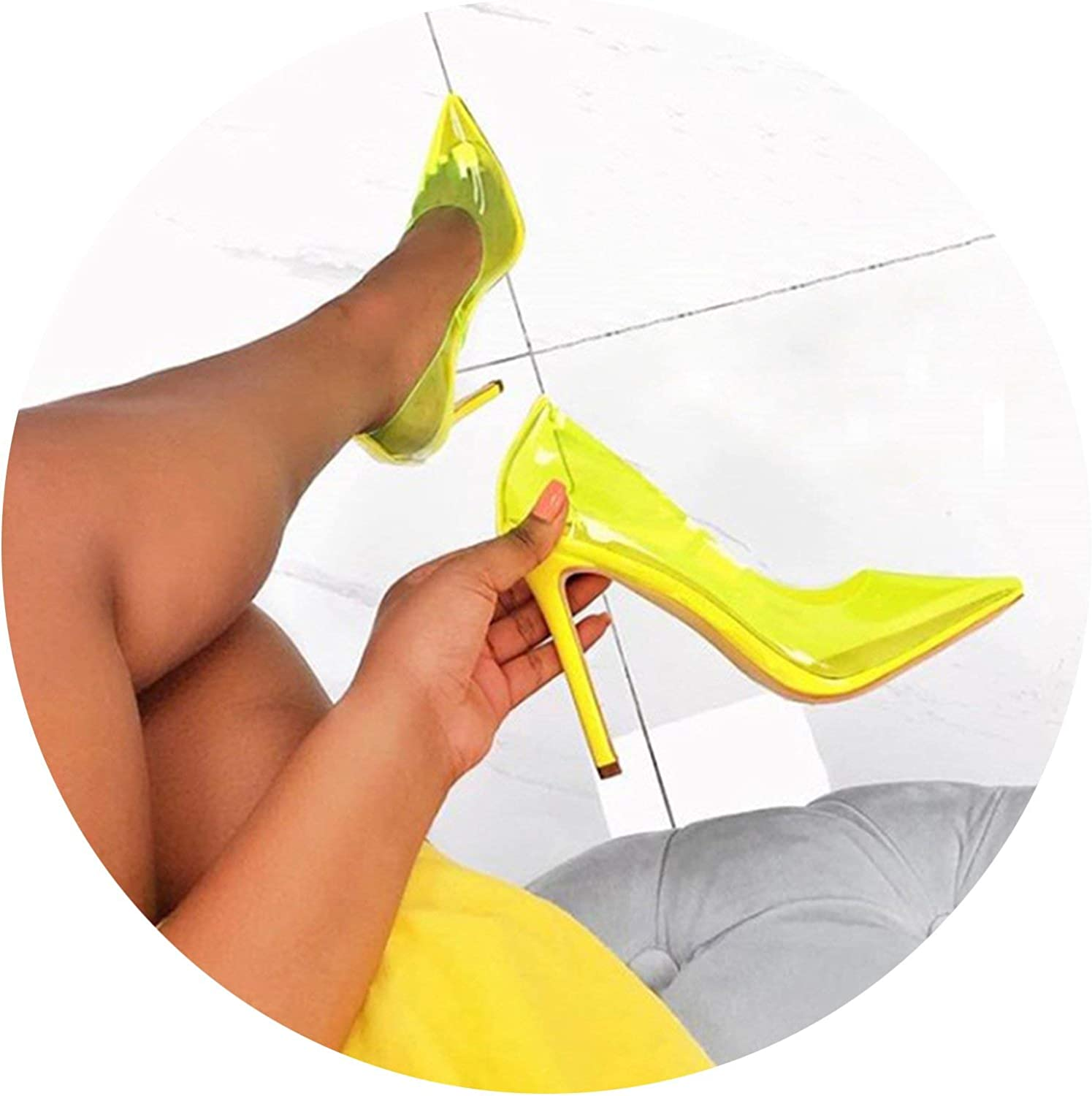 HANBINGPO Size 35-40 New Clear PVC Pointed Toe High Heels Stilettos Fashion Women OL Office Dress Pumps Sexy Female Party Pumps shoes