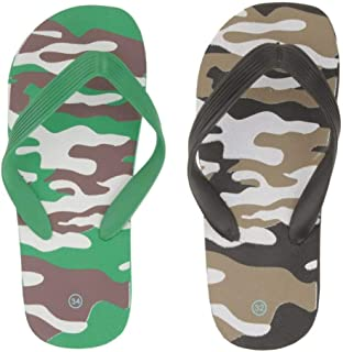 Yellow Bee Camouflage Slippers for Boys - 2 Pairs, Green and Black