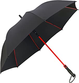 G4Free 55 Inch Golf Umbrella Large Windproof Oversize Auto Open Stick Umbrellas Reinforced Fiberglass Ribs Shaft Adorned in Red Paint