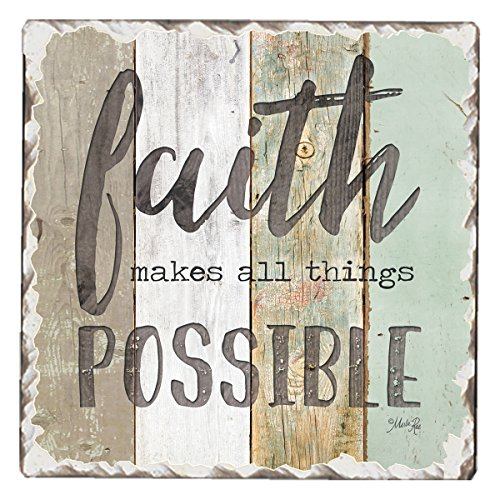 CounterArt Single Tumbled Tile Absorbent Coaster Faith Makes All Things Possible