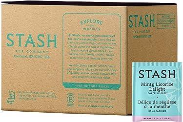 Stash Tea Minty regaliz Delight té de hierbas 100 unidades bolsas de té (el embalaje puede variar) individuales bolsas de té de hierbas para uso en teteras, tazas o tazas, preparar té caliente o té helado