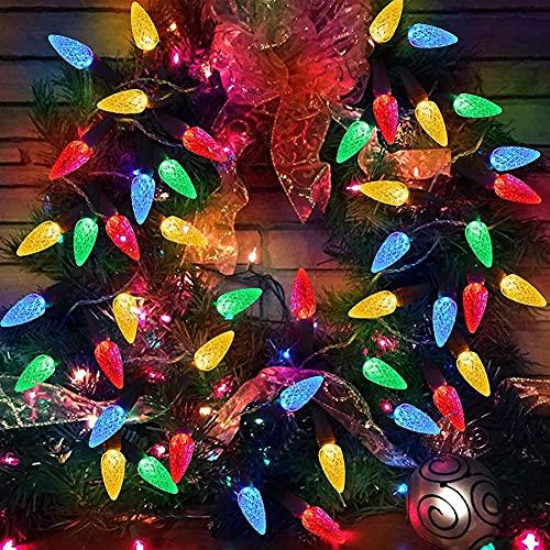 Wenyun Guirnalda de luces con forma de fresa, 50 luces LED para jardín, 8 modos, 5,2 m, para exterior e interior, para jardín, árboles, bodas, fiestas, Navidad, etc.