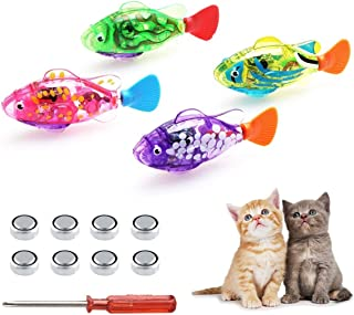 SUPER MOLLY Swimming Robot Fish Toys for Cats & Dogs,Cat Loves The auto-Swimming Fish Toys Activated in Water with LED Light,Cat Toy & Dog Toy,Swimming Bath Plastic Fish Toy with Child - 4 PCS