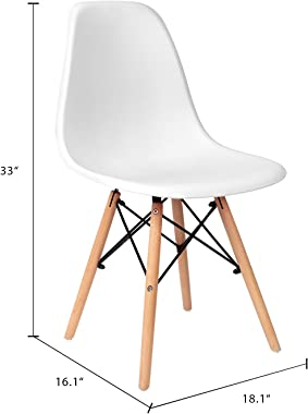 VICTONE Pre Assembled Mid Century Modern Style Dining Chair DSW Shell Plastic Chair Kitchen, Dining, Living Room Side Chairs,