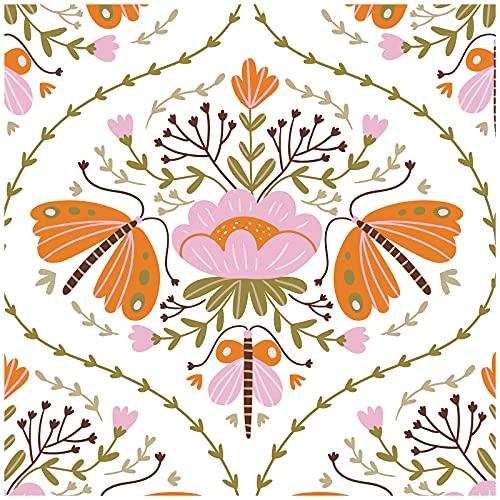 HaokHome Papel pintado 94012 con diseño de hada de damasco, color blanco y rosa y marrón extraíble, para decoración de sala de estar, dormitorio, 45 x 299 cm