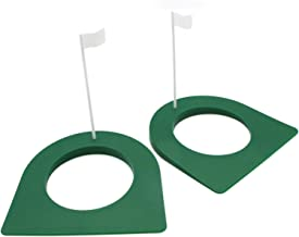 JETEHO 2 Pack Golf Practice Putting Cup Indoor Outdoor Gold Putter Training Aids Regulation Cup