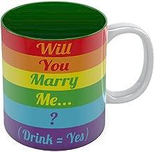 Will You Marry Me? Coffee Mug - Gay Marriage Proposal Rainbow Flag Tea Cup Mug 11 Oz. Green
