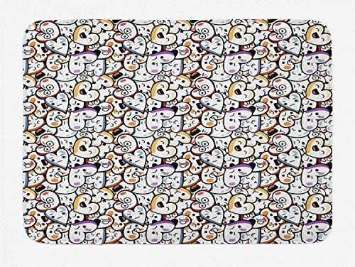 YnimioHOB Alfombra de baño Loca, patrón de Corazones con temática de San Valentín con Diferentes Expresiones, diseño Colorido Anime, Alfombra de baño de Felpa Decorada con Respaldo Antideslizante