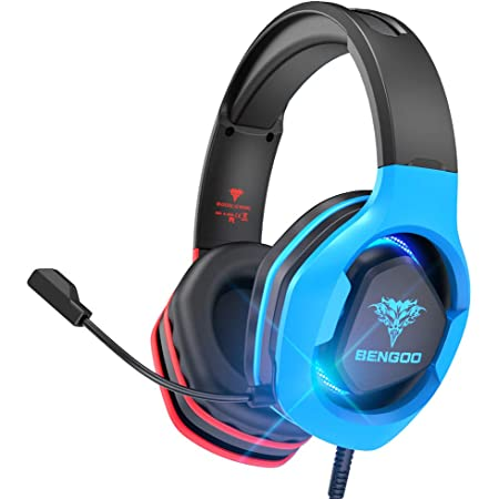 BENGOO G9500 Gaming Headset Headphones for PS4 Xbox One PC Controller, Over Ear Headphones with 720° Noise Cancelling Mic, Bicolor LED Light, Soft Memory Earmuffs for Gamecube Super Nintendo PS5