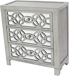 wood and mirrored nightstand