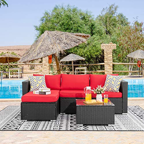 Walsunny 3 Piece Outdoor Furniture Sectional Sofa Patio with Upgrade Rattan Wicker Upgrade Wicker(Black Rattan)(Red)