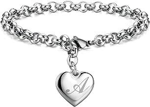 Monili دستبند جذابیت اولیه فولاد ضد زنگ قلب 26 نامه دستبند الفبا برای زنان