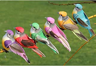 lwingflyer 6pcs Artificial Simulated Feather Birds with Claw Foam Mini Love Birds for Craft Home Ornaments Garden Wedding Decoration 10cm/3.9inch