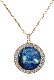 Custom Glamour Retro Copper Plated Rose Gold Round Glass Crystal Pendant Necklace Jewelry
