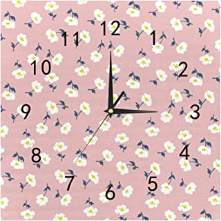 SHOP-DIY Square Wall Clock, Quality Quartz Operated for Home # Pink Flowers